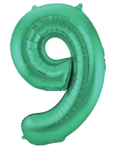 Ballon alluminium vert métallique chiffre 86 cm-9