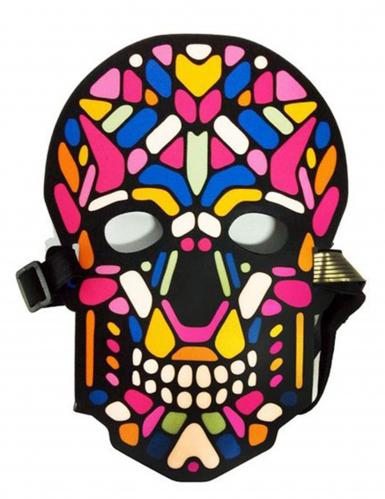 Masque crâne de squelette LED réactives adulte