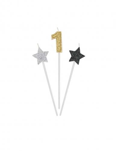 3 Bougies d'anniversaire chiffre dorées, argentées et noires 16 cm-1