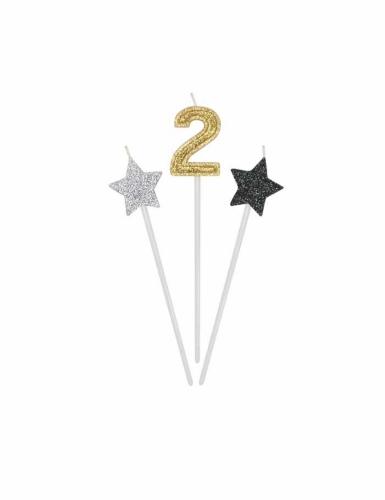 3 Bougies d'anniversaire chiffre dorées, argentées et noires 16 cm-2