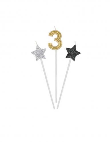 3 Bougies d'anniversaire chiffre dorées, argentées et noires 16 cm-3