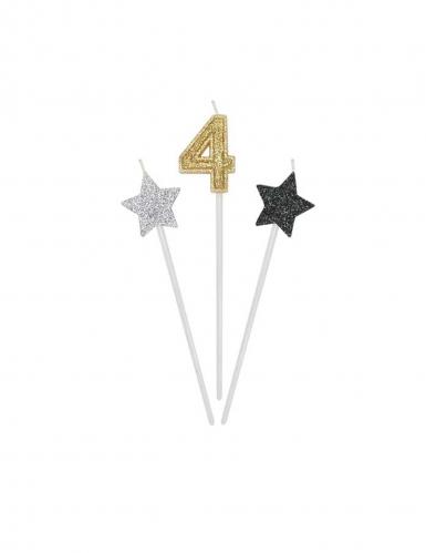 3 Bougies d'anniversaire chiffre dorées, argentées et noires 16 cm-4