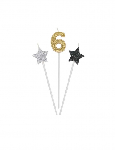 3 Bougies d'anniversaire chiffre dorées, argentées et noires 16 cm-6