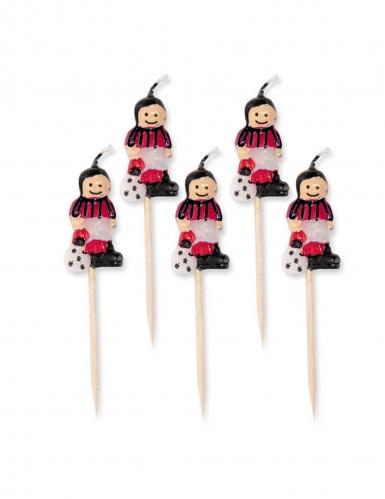 5 Bougies sur pic footballeurs rouges et noirs 8 cm