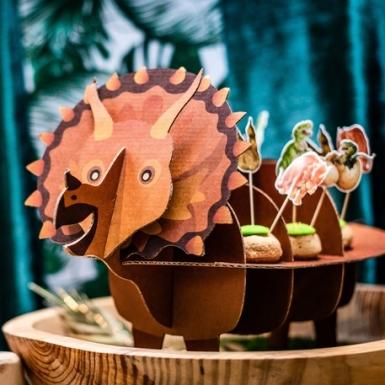 Présentoir en carton dinosaure 3D kraft et marron 55,5 x 32 x 24,5 cm-1