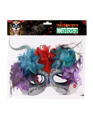 Masque multicolore dia de los muertos adulte-1
