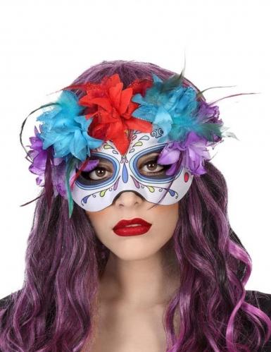 Masque multicolore dia de los muertos adulte