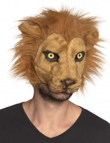 Masque lion peluche adulte