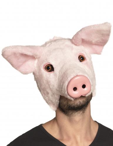 Masque cochon peluche adulte
