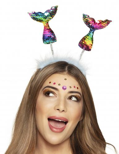 Serre-tête queues de sirène multicolores adulte