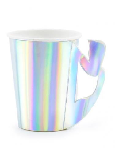 6 Gobelets en carton sirène holographique 220 ml