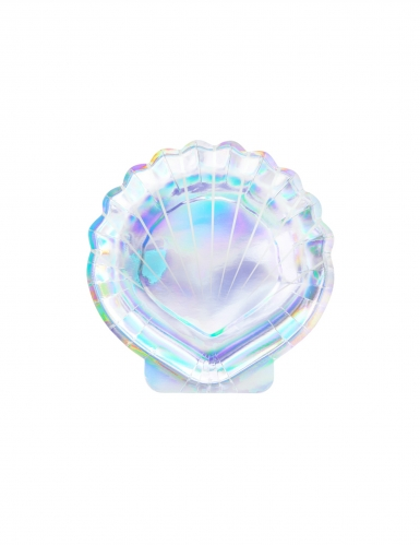 6 Assiettes en carton forme coquillage holographique 18,5 cm
