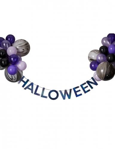 Kit guirlande halloween avec ballons noirs et violets