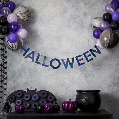 Kit guirlande halloween avec ballons noirs et violets-1