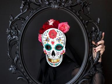 Masque en carton dia de los muertos blanc 19 x 28 cm-1