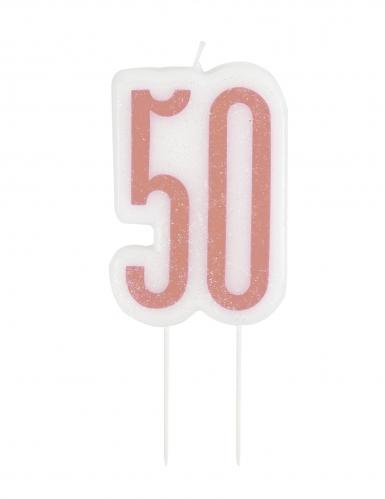 Bougie d'anniversaire sur pic 50 ans rose pailletée 7 cm