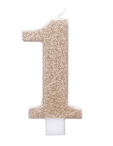 Bougie d'anniversaire chiffre champagne pailletée 7 cm-1