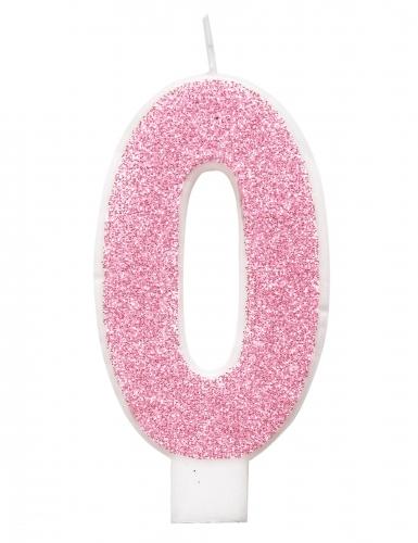 Bougie d'anniversaire chiffre rose pailletée 7 cm