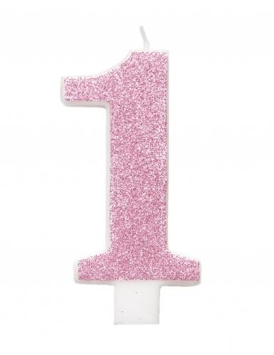 Bougie d'anniversaire chiffre rose pailletée 7 cm-1