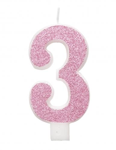 Bougie d'anniversaire chiffre rose pailletée 7 cm-3