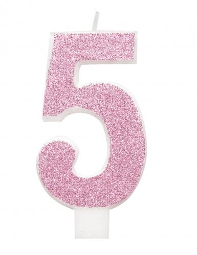 Bougie d'anniversaire chiffre rose pailletée 7 cm-5