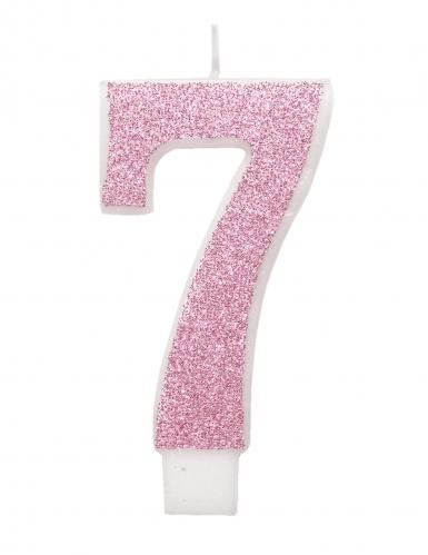 Bougie d'anniversaire chiffre rose pailletée 7 cm-7
