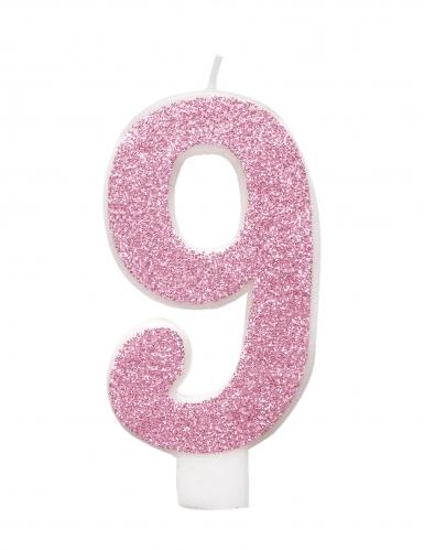 Bougie d'anniversaire chiffre rose pailletée 7 cm-9