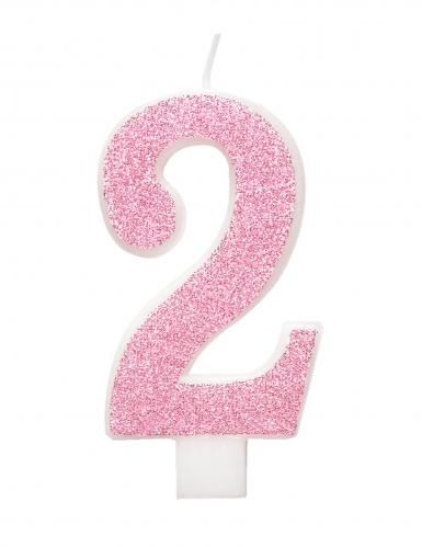 Bougie d'anniversaire chiffre rose pailletée 7 cm-2