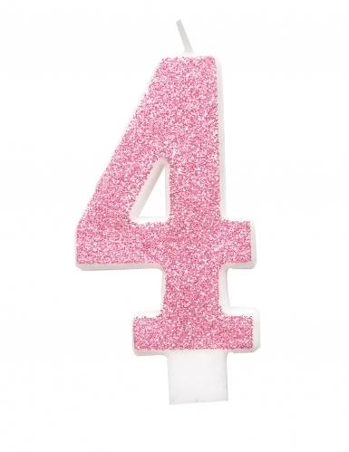 Bougie d'anniversaire chiffre rose pailletée 7 cm-4