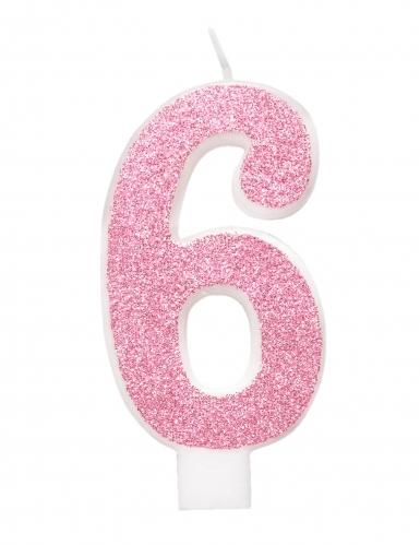 Bougie d'anniversaire chiffre rose pailletée 7 cm-6
