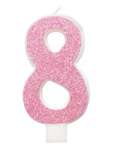 Bougie d'anniversaire chiffre rose pailletée 7 cm-8