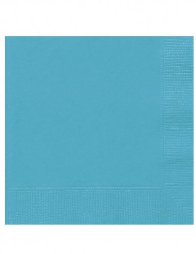 20 Petites serviettes en papier bleues turquoises 25 x 25 cm