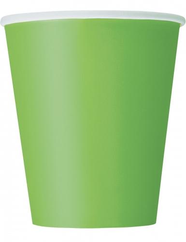 8 Gobelets en carton vert citron 266 ml