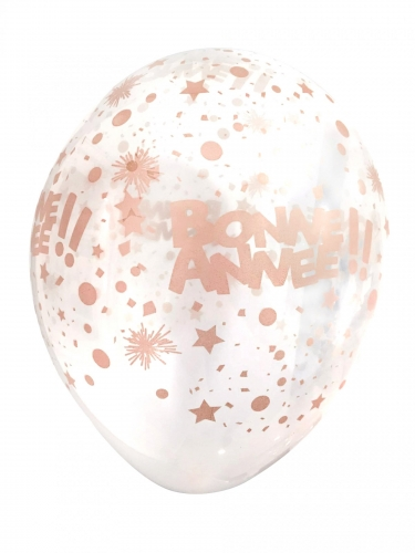 6 Ballons transparents bonne année rose gold 30 cm