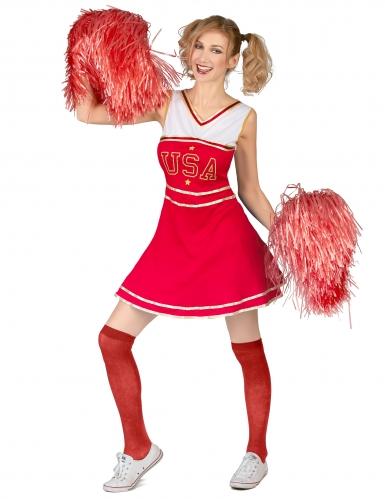 Déguisement de pompom girl USA rouge femme-1