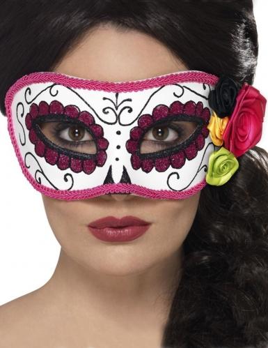 Masque vénitien liseré rose Dia de los Muertos adulte