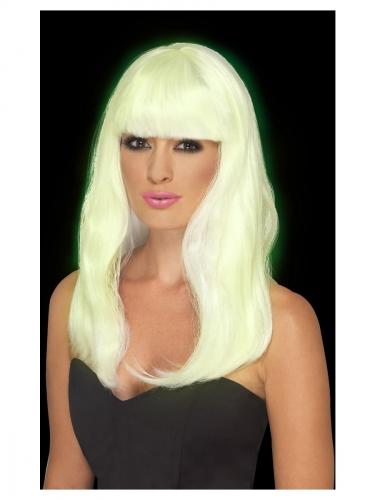 Perruque longue blanche phosphorescente femme