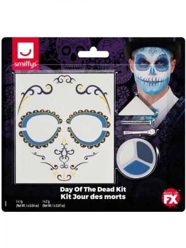 Kit de Make Up FX Dia de los Muertos bleu adulte-1