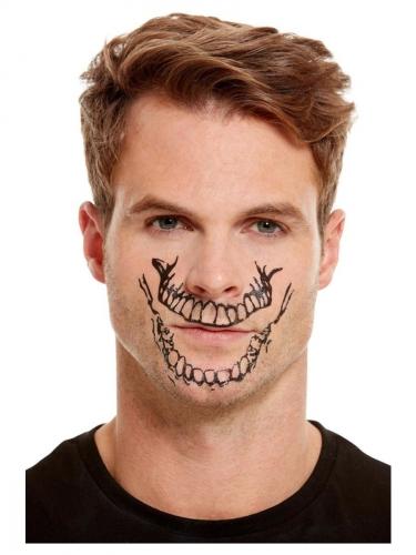 Kit de maquillage avec tatouage bouche squelette adulte-1