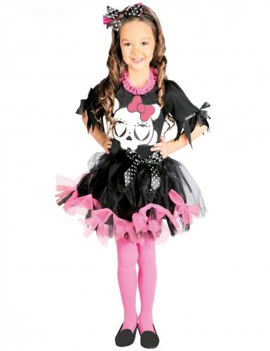 Déguisement tutu noir et rose squelette mignon fille