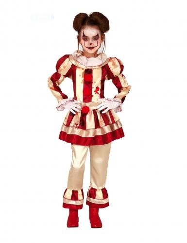 Déguisement clown terrifiante rouge et blanc fille