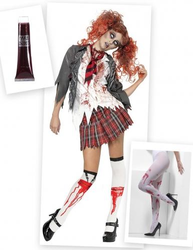 Pack déguisement et accessoire de zombie écolière femme