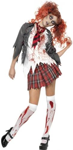 Pack déguisement et accessoire de zombie écolière femme-1