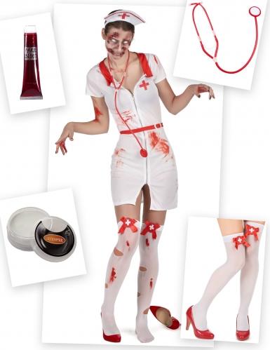 Pack déguisement et accessoire d'infirmière zombie femme