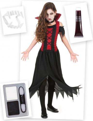 Pack déguisement et accessoires de vampire fille  Deguise
