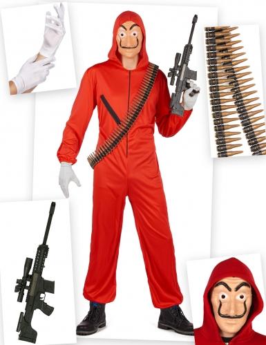 Pack déguisement de voleur rouge complet adulte