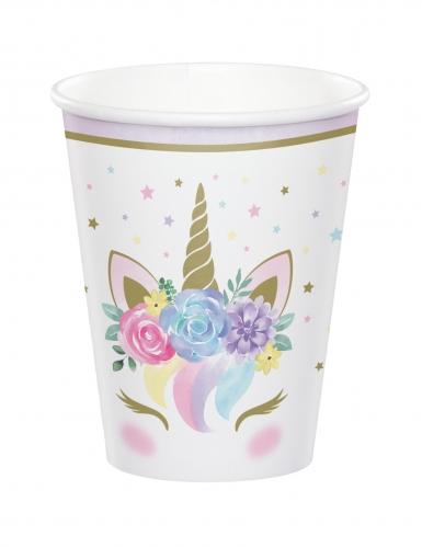 8 Gobelets en carton licorne féerique blancs 256 ml