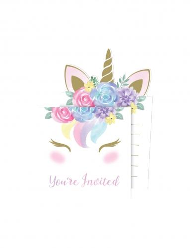 8 Cartons d'invitation avec enveloppes licorne féerique 10 x 15 cm