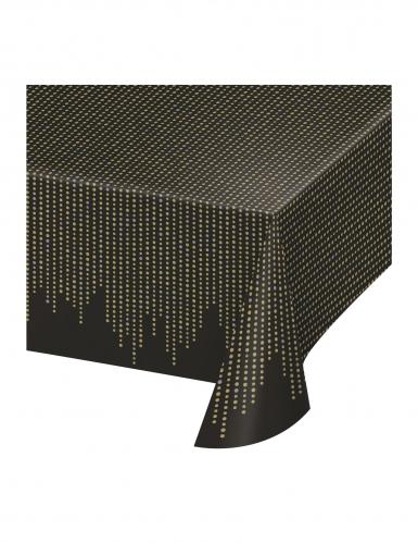Nappe en plastique années 20 noire et dorée 137 x 259 cm