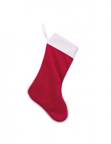 Chaussette du père noël en velours rouge et coton blanc 29 x 48 cm